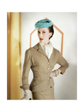 Model Wearing a Camel Wool Suit by Mollie Parnis and a Fur Turquoise Hat by Emme Photographic Print