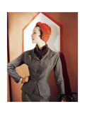 Model Wearing a Brown-Beige Checked Suit by Adele Simpson Photographic Print