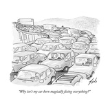"""Why isn't my car horn magically fixing everything"" - New Yorker Cartoon Premium Giclee Print by Tom Toro"