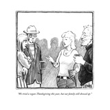 """We tried a vegan Thanksgiving this year, but our family still showed up."" - New Yorker Cartoon Reproduction giclée Premium par Matthew Diffee"