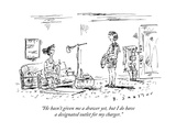 """He hasn't given me a drawer yet, but I do have a designated outlet for my"" - New Yorker Cartoon Premium Giclee Print by Barbara Smaller"