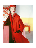 Model Wearing a Long Wool Llama Fleece Red Coat and Matching Hat by Esperanto Givenchy Photographic Print