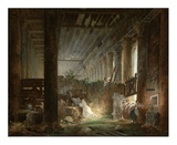 A Hermit Praying in the Ruins of a Roman Temple Art par Hubert Robert