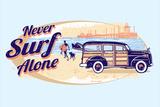 Never Surf Alone Targa di plastica di  Dog is Good