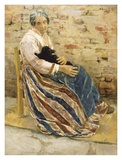 An Old Woman with Cat Posters by Max Liebermann