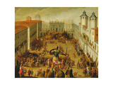 Tournament in Piazza Castello in Honour of the Wedding of Victor Amadeus I and Christine of France Giclee Print by Antonio Tempesta