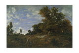 The Edge of the Woods at Monts-Girard, Fontainebleau Forest, 1852-54 Giclee Print by Theodore Rousseau