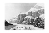 Franklin's Expedition Preparing an Encampment on the Barren Grounds and Gathering Lichen, 1823 Giclee Print by George Back