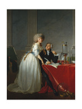 Portrait of French chemist Antoine Laurent Lavoisier with wife, 1788 Gicléetryck av Jacques Louis David