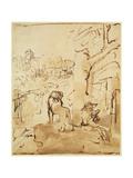 St. Jerome Reading in a Landscape, c.1653-54 Impressão giclée por  Rembrandt van Rijn