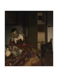 Girl asleep at a table, 1656-57 Giclee Print by Jan Vermeer