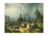Alpine hut in Rainy Weather, 1850 Giclee Print by Friedrich Gauermann