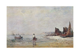 Fisherman in Villerville, Low Tide Giclee Print by Eugene Louis Boudin