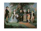 Members of the Wilson family grouped round a memorial of William Pitt the Younger Giclee Print by John Downman