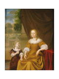 A Portrait of a Lady, Seated by a Table, with Her Daughter, 1686 Giclee Print by Pieter van Slingelandt