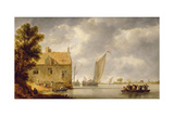 Builders Repairing a House by a River Giclee Print by Bonaventura Peeters