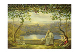 Monk sitting on a Terrace overlooking Lake Nemisee, 1818 Giclee Print by Joachim Faber