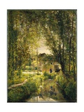 Landscape with a Sunlit Stream, c.1877 Giclee Print by Charles Francois Daubigny