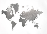 Large Silver Foil World Map Prints by Jennifer Goldberger