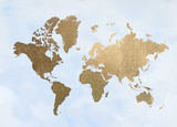 Gold Foil World Map on Blue Print by Jennifer Goldberger