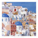 Santorini Watercolor II Prints by Edie Fagan