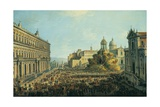 Good Time in Largo Di Palazzo, Naples, Italy Giclee Print by Antonio Joli