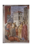 Distribution of Alms and Death of Ananias. 1425-28 Giclée-tryk af Masaccio