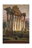 Ruins of Temple of Saturn in Roman Forum, 1841 Giclee Print by Ippolito Caffi