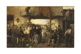 Arrival of the Bulletin of the Peace of Villafranca Giclee Print by Domenico Induno