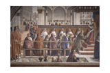 St. Francis Receiving the Rule by Pope Onorio III Giclée-tryk af Domenico Ghirlandaio