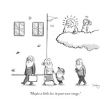An angel says to God, as they sit in a cloud, and look down upon men, wome... - New Yorker Cartoon Premium Giclee Print by Avi Steinberg