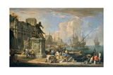 View of the Harbor, Arch of Constantine and Equestrian Monument Giclee Print by Luca Carlevaris