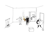 A man with a clipboard directs a mover holding fire in both hands to put i... - New Yorker Cartoon Giclee Print by Edward Steed