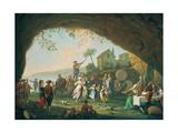 Italian Women and Girls Dancing the Tarantella Near Posillipo Giclee Print by Pietro Fabris