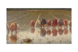 For 80 Cents, Row of Women Workers in a Rice Field, 1893 Giclee Print by Angelo Morbelli