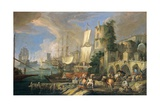 Harbor View with Bridge and Tower, and Ships, 1713 Giclee Print by Luca Carlevaris