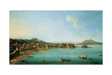 Naples from the West by Antonio Joli, 18th C. People Walk Near Coast, Mt. Vesuvius in Background Giclee Print by Antonio Joli