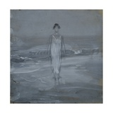 Woman in White Dress Walking at Water's Edge by the Sea Giclee Print by Francesco Paolo Michetti
