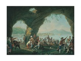 Everyday Life in a Cave in Posillipo, Near Naples Italy Giclee Print by Pietro Fabris