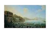 Gulf of Naples with Royal Boats and Galleys Giclée-tryk af Antonio Joli