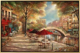 Riverwalk Café Framed Canvas Print by Ruane Manning