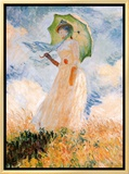 Woman With Umbrella Framed Canvas Print by Claude Monet