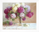Elizabeth's Hydrangeas Framed Canvas Print by Xiaogang Zhu
