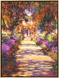 Il Viale del Gardino Framed Canvas Print by Claude Monet