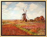 Tulip Fields with the Rijnsburg Windmill Framed Canvas Print by Claude Monet