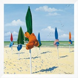 Tied Beach Umbrellas Framed Canvas Print by Henri Deuil
