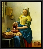 The Milkmaid, c.1658-1660 Framed Canvas Print by Jan Vermeer