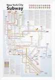 New York City Subway Map Framed Canvas Print by John Tauranac