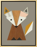 Geometric Fox Framed Canvas Print by  Little Design Haus