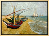 Fishing Boats on the Beach at Saints-Maries, c.1888 Framed Canvas Print by Vincent van Gogh